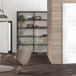 porte laminato con anta massellata colore palissandro bianco effetto Scratch con maniglia squadrata cromo satinata